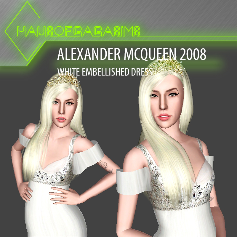 ALEXANDER MCQUEEN 2008 WHITE EMBELLISHED DRESS
