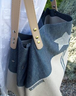 Cabas en coton rustique et jean