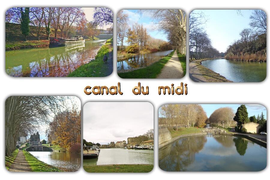 Carte postale de Carcassonne, le canal du Midi ...