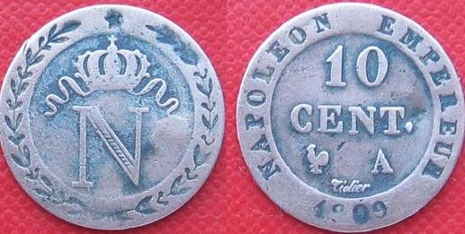 10 centimes Napoléon 1809  en cuivre