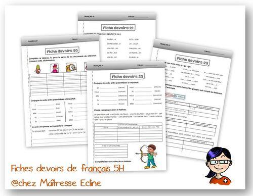 Fiches devoirs français 5H - n° 1 à 23