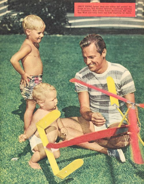 William Holden and sons West and Scott, Movie Life, June 1949