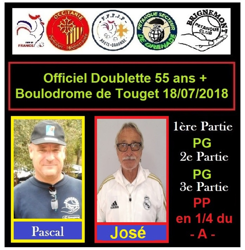 Officiel Doublette 55 ans+ à Touget -32-
