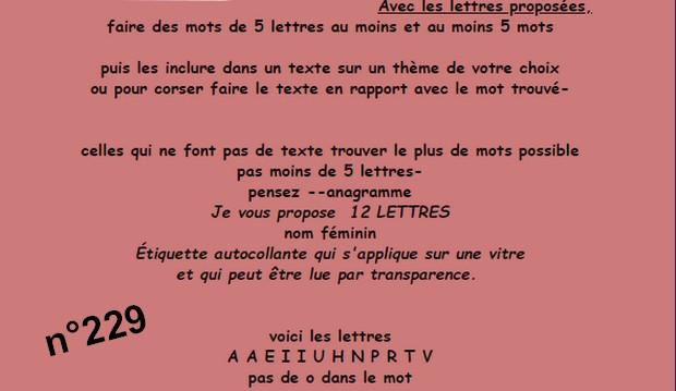 Jeu de Lettres n°229