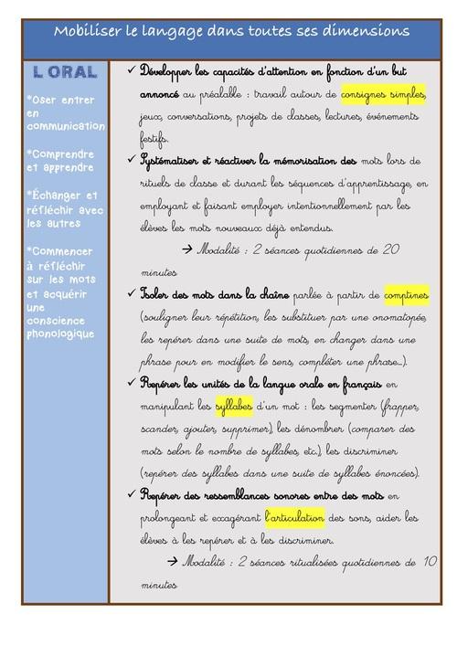 Les priorités GS en français pour la P1
