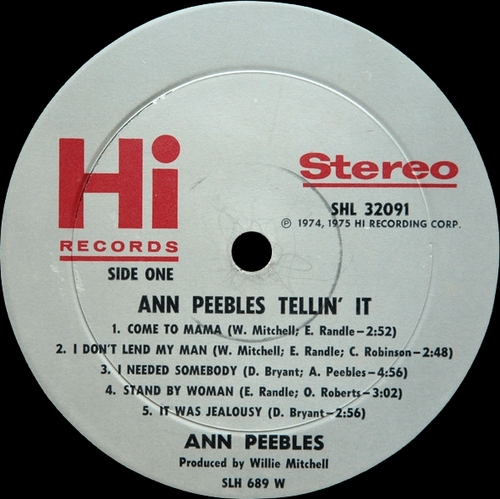 "Ann Peebles : Album "" Tellin' It "" Hi Records SHL 32091 [ US ]"
