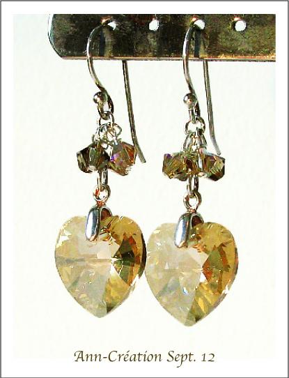 Boucles d'Oreilles Coeurs Cristal de Swarovski Golden AB / Argent 925