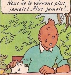 Tintin et milou pleurent leur ami Stéphane Steeman