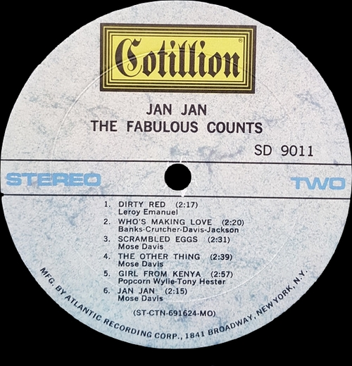 "The Fabulous Counts : Album "" Jan Jan "" Cotillion Records SD 9011 [ US ]"