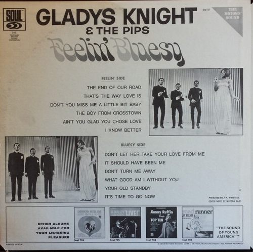 "Gladys Knight & The Pips : Album "" Feelin' Bluesy "" Soul Records SS 707 [ US ]"