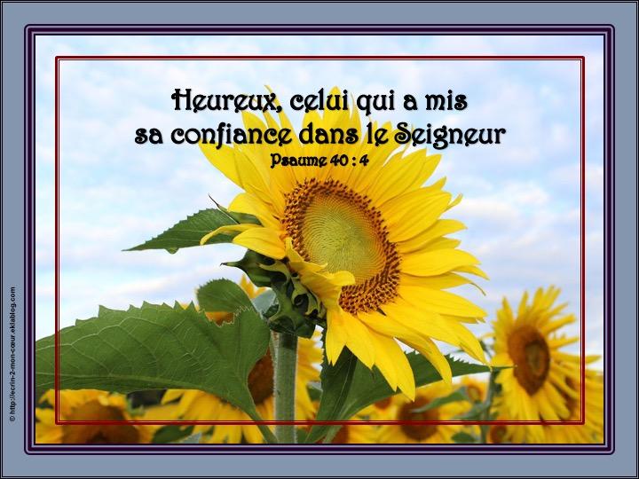 Heureux, celui qui a mis sa confiance dans le Seigneur - Psaumes 40 : 4