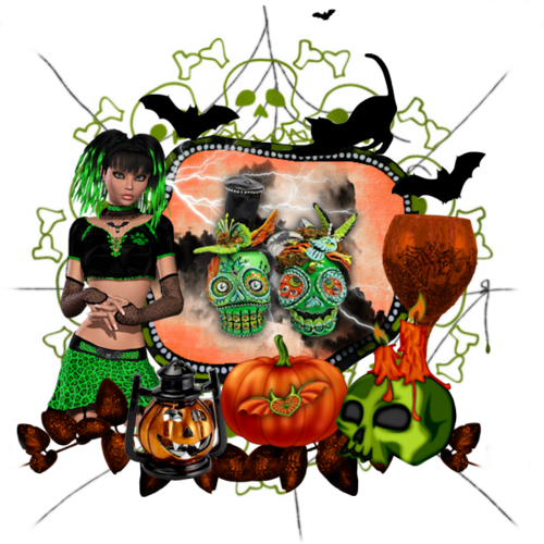page ct du kit Green Halloween
