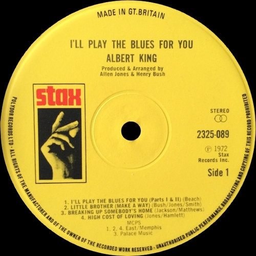 "Special Disc Jockey : Album Albert King "" I'll Play The Blues For You "" Stax Records 2325 089 [ FR ]"