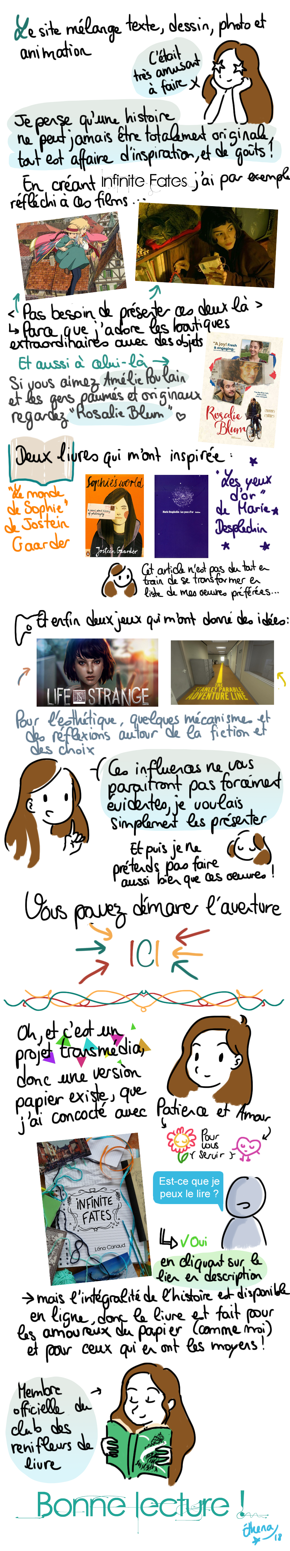 Présentation de Infinite Fates et de mes sources d'inspiration (Amélie Poulain, Rosalie Bloom, Les yeux d'or de Marie Desplechin, Le monde de Sophie, Life is Strange, the Stanley Parable)
