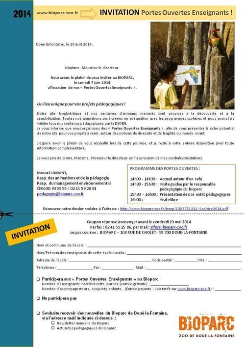 Invitation gratuite Bioparc49