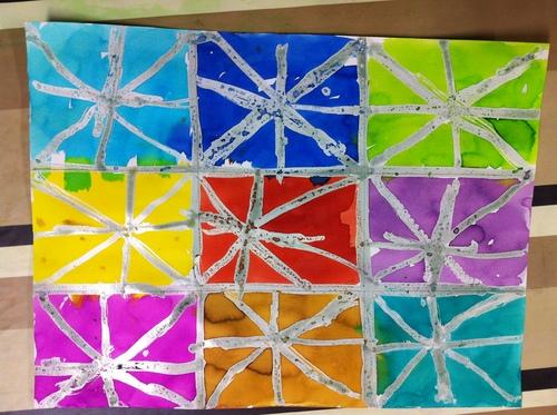 S5: traits rayonnant au drawing-gum & encre