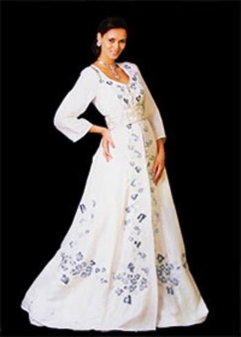 Caftan marocain pour mariage traditionnel broderie et demi manches haute couture oriental KAF-S838