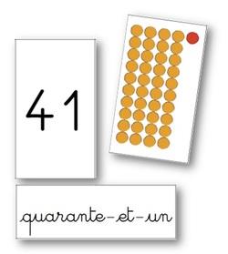 Cartes sur les nombres jusqu'à 99 (perles Montessori)