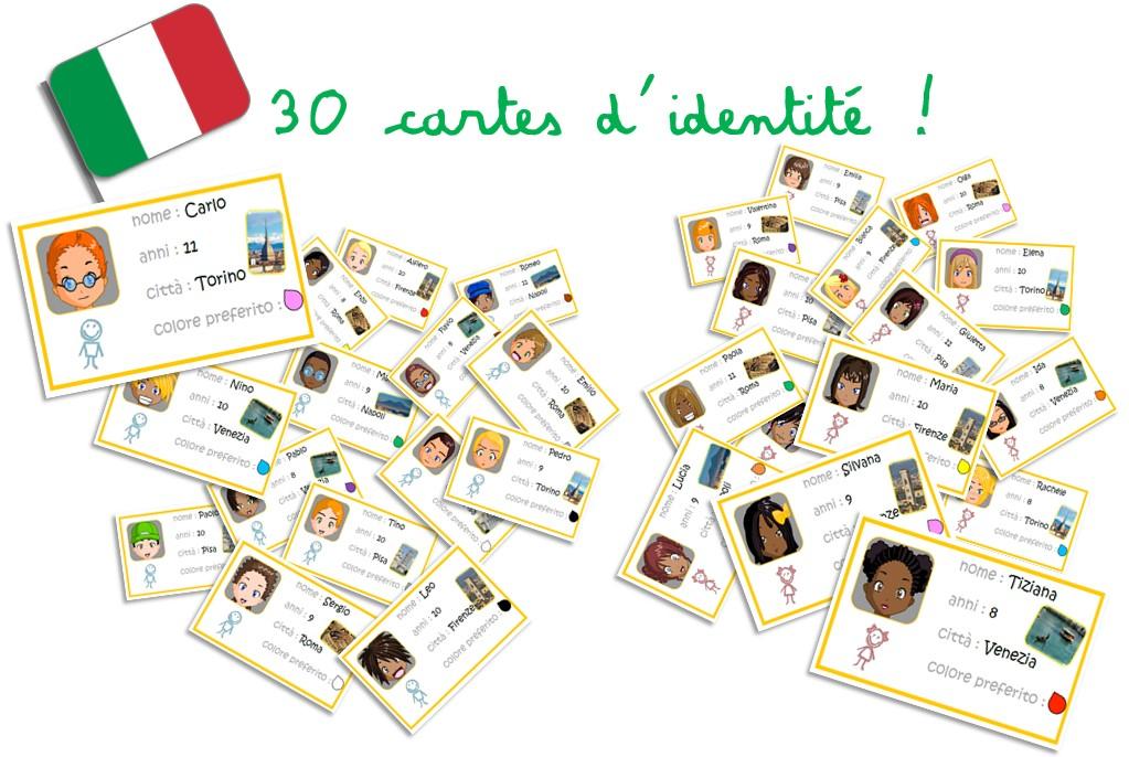 Jeux autour des cartes d'identité... en Italien !