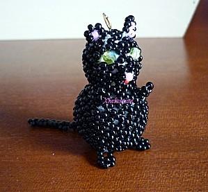 chat noir en perles 1