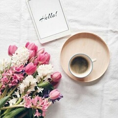 Image de flowers, coffee, and spring