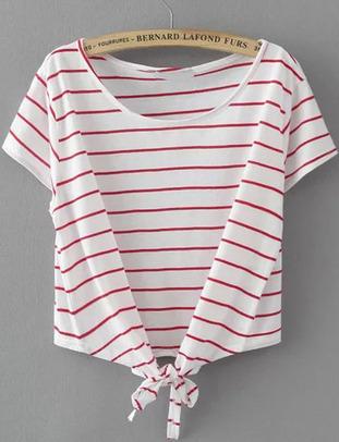 T-Shirt noué à rayure -blanc