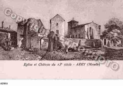 Eglise Saint-Arnould d'Arry et le château fortifié, photo Cartes et patrimoine.