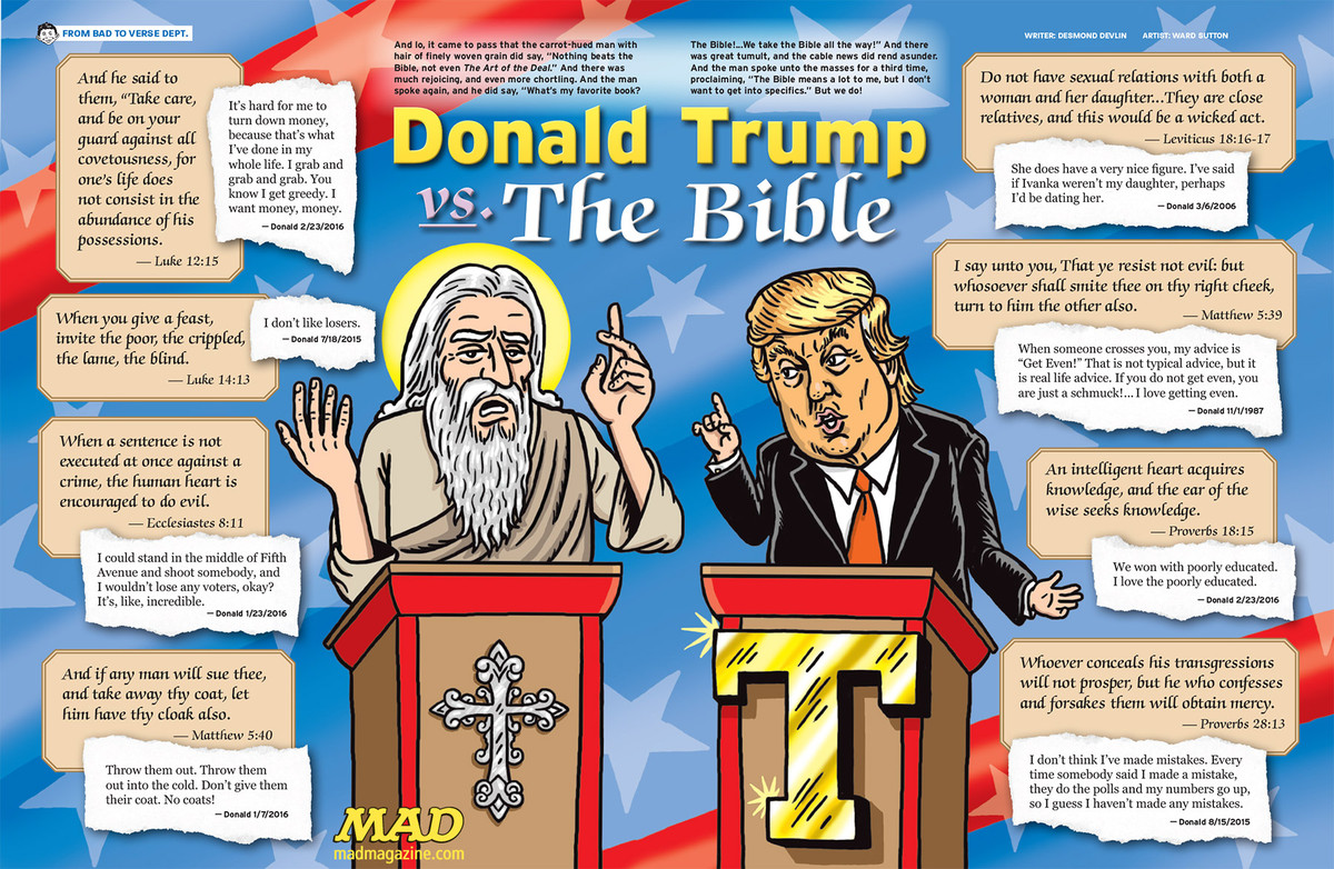 mad magazine dumps on trump donald trump Ward sutton desmond devlin trump vs the bible