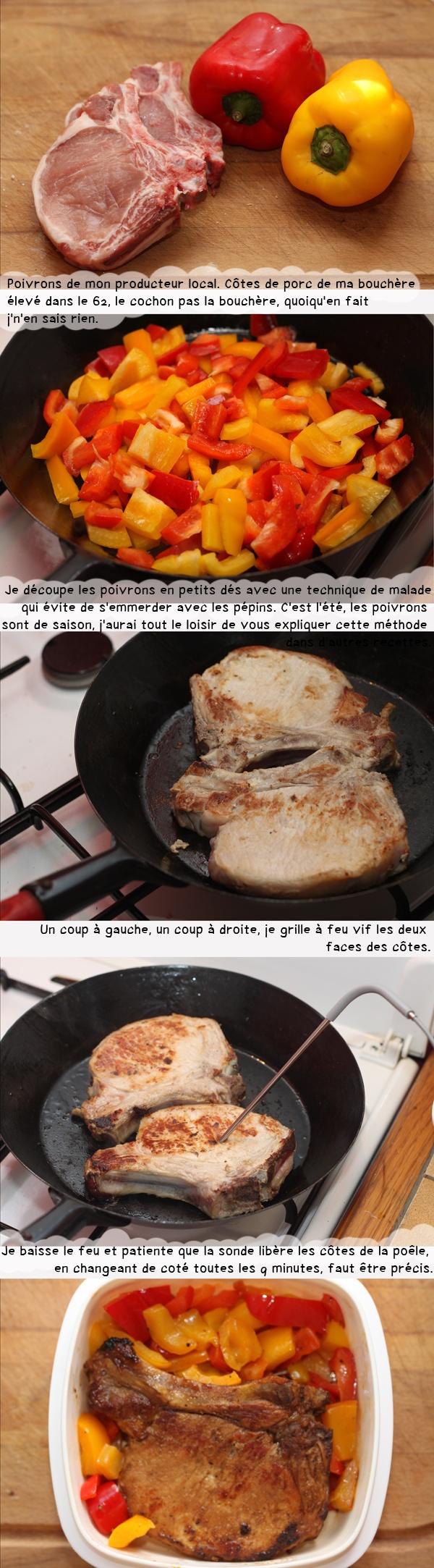 Duo de poivrons et côte de porc grillée.
