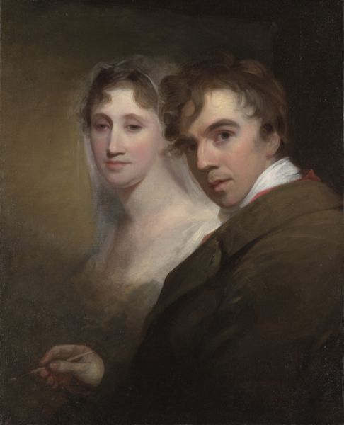 """Portrait of the Artist Painting His Wife"", c. 1810, by Thomas Sully (English, 1783-1872)"