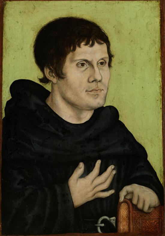 Luther vêtu en augustin, Lucas Cranach l'Ancien, 1523.