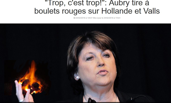 Matine Aubry charge le gouvernement