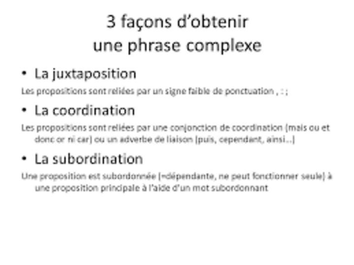 """Résultat de recherche d'images pour """"coordination juxtaposition et subordination"""""""
