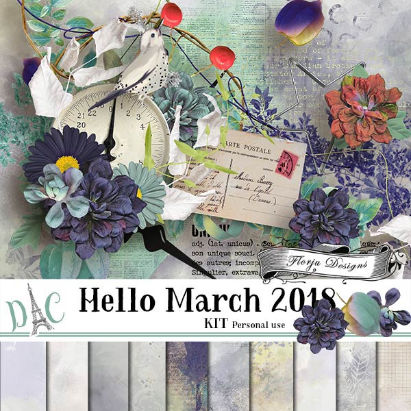 Hello March 2018 { Kit PU } by Florju Designs