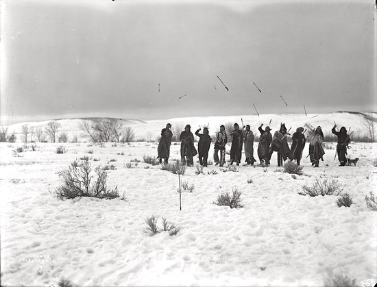 Crow Game of Arrows. ca. 1910. Photo by Richard Throssel. Source - University of Wyoming, American H