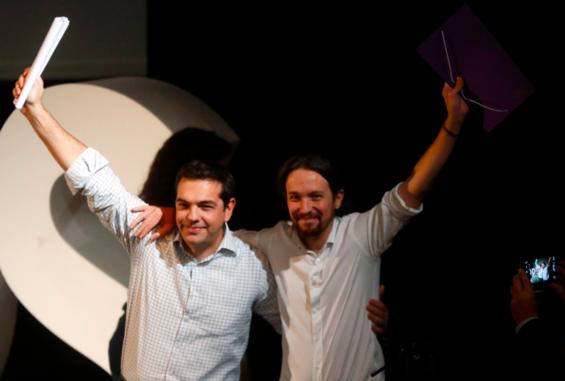 Alexis Tsipras et Pablo Iglesias le 15 novembre 2014 à Madrid.