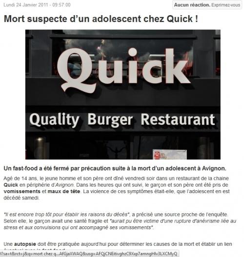 Mort chez Quick Avignon