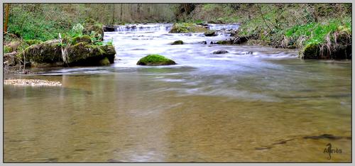 D'ici fait encore une lieue, Puis verse au fleuve son flot pur.