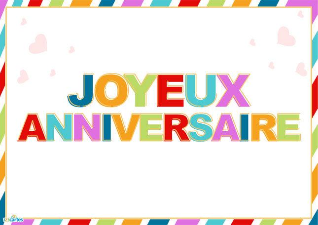 Une couleur par lettre - Carte anniversaire à imprimer | 123cartes