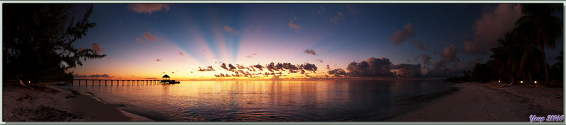 Coucher de soleil plage du White Sand Beach Resort - Rotoava - Atoll Fakarava - Tuamotu - Polynésie française
