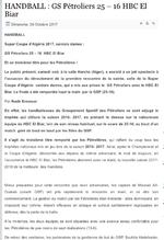 """26.5.2017 à Chéraga Salle """"Tahar Belakhdar"""" Finale GSP (ex MCA)-HBC El Biar 25-22"""