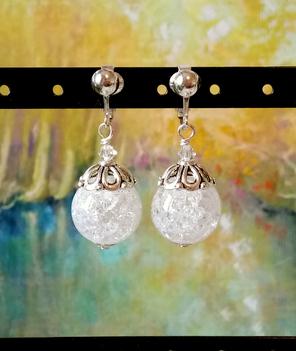 Boucles Quartz blanc craquelé et Cristal de Swarovski / Plaqué argent - White quartz earrings