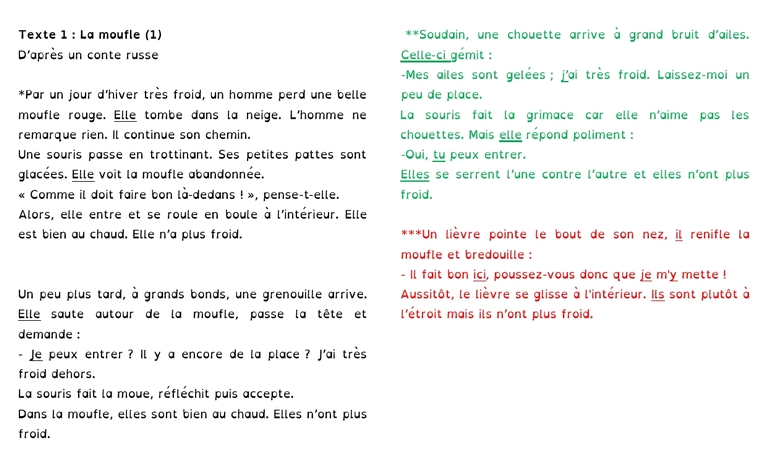 Textes et transpositions version dys