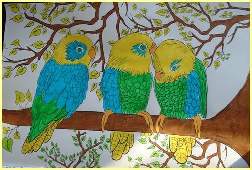 coloriage trois oiseaux