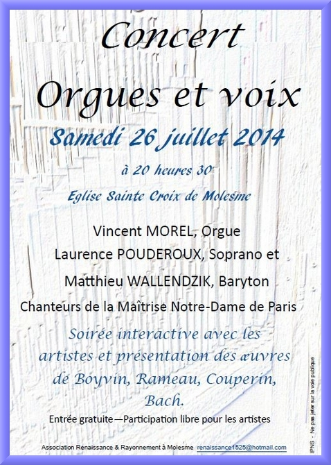 Un très beau concert d'orgue à Molesme ce soir...