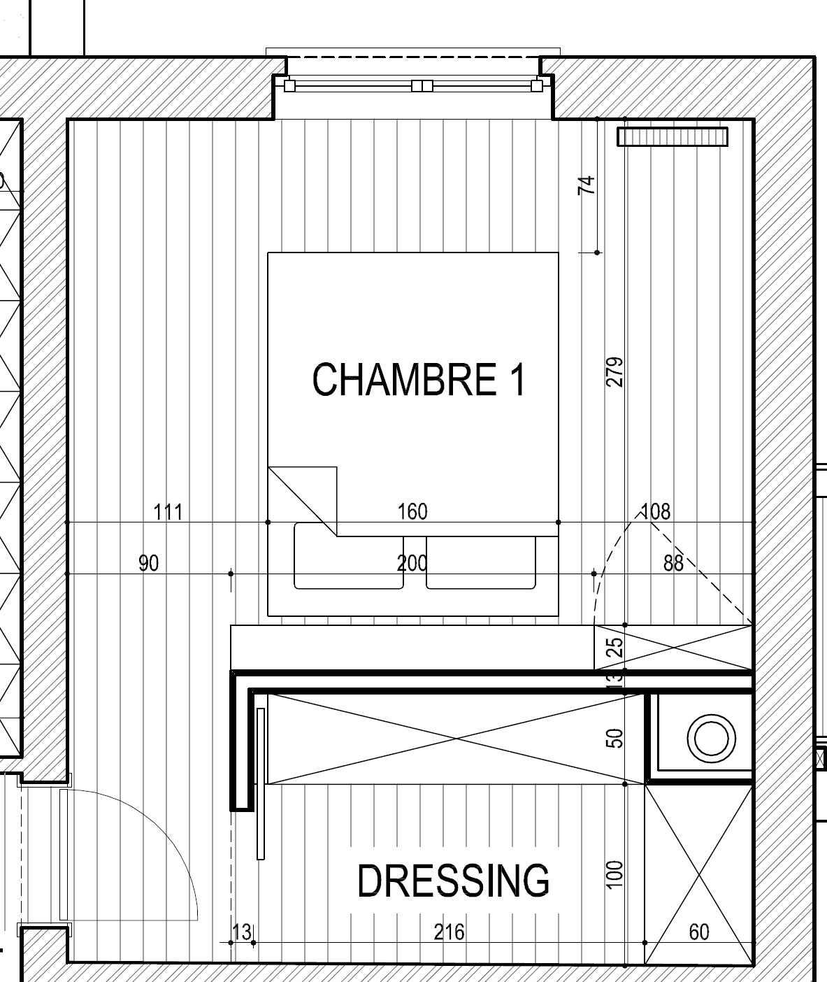 Dressing derriere lit meilleures images d 39 inspiration for Plan de dressing chambre