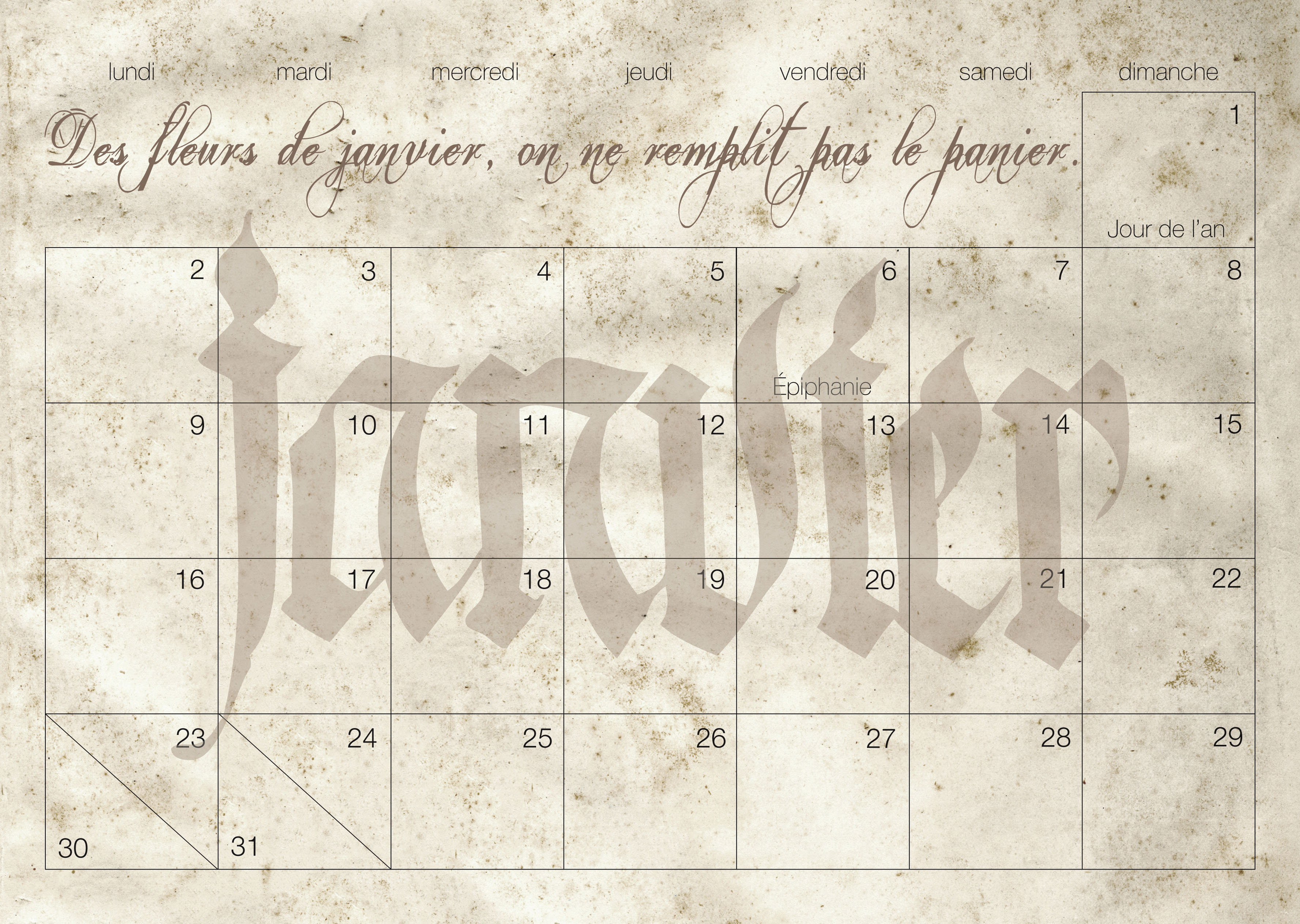 pages calendrier 2017