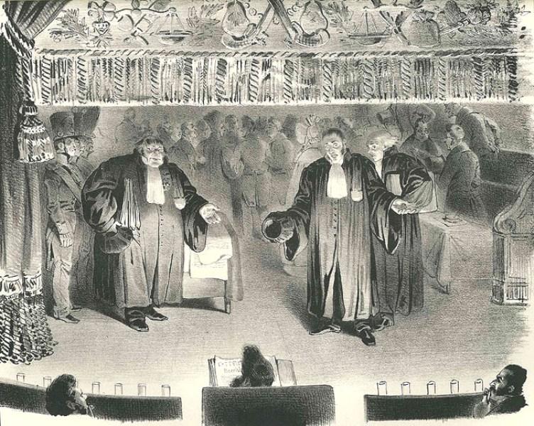 Grandville. Le procès. Lithographie 1833