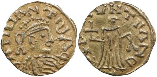 Tiers de sou de Gontran frappé à Chalon-sur-Saône (561-592). BNF, monnaies, médailles et antiques.