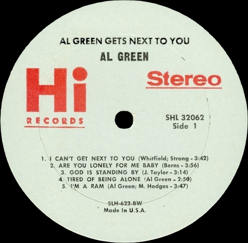 "1971 : Al Green : Album "" Gets Next To You "" Hi Records SHL 32062 [ US ]"
